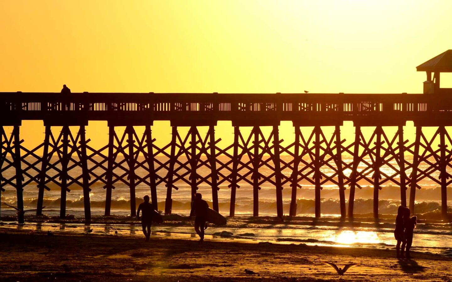 View of surfers at pier during sunrise